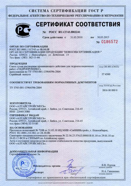 Сертификат соответствия Гидропромикc